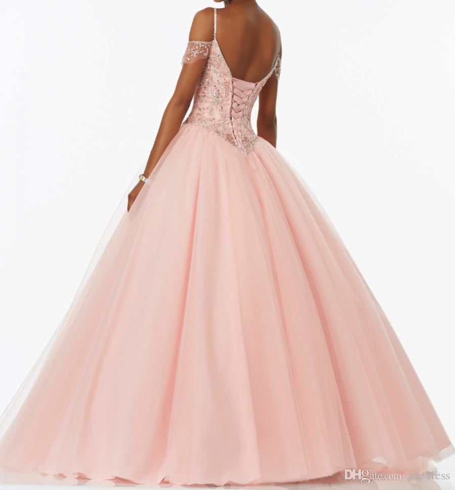 Spaghetti Straps Beaded Crystal Pink Quinceanera Dresses Ball Gowns ...