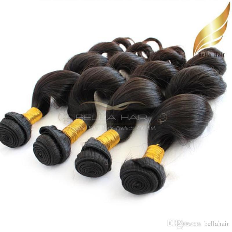 """8 """"-30""""マレーシアのヘアエクステンション4ピース/ロットルーズウェーブ髪織り8a DHL送料無料ナチュラルブラックダブルサイフォールベラエア"""