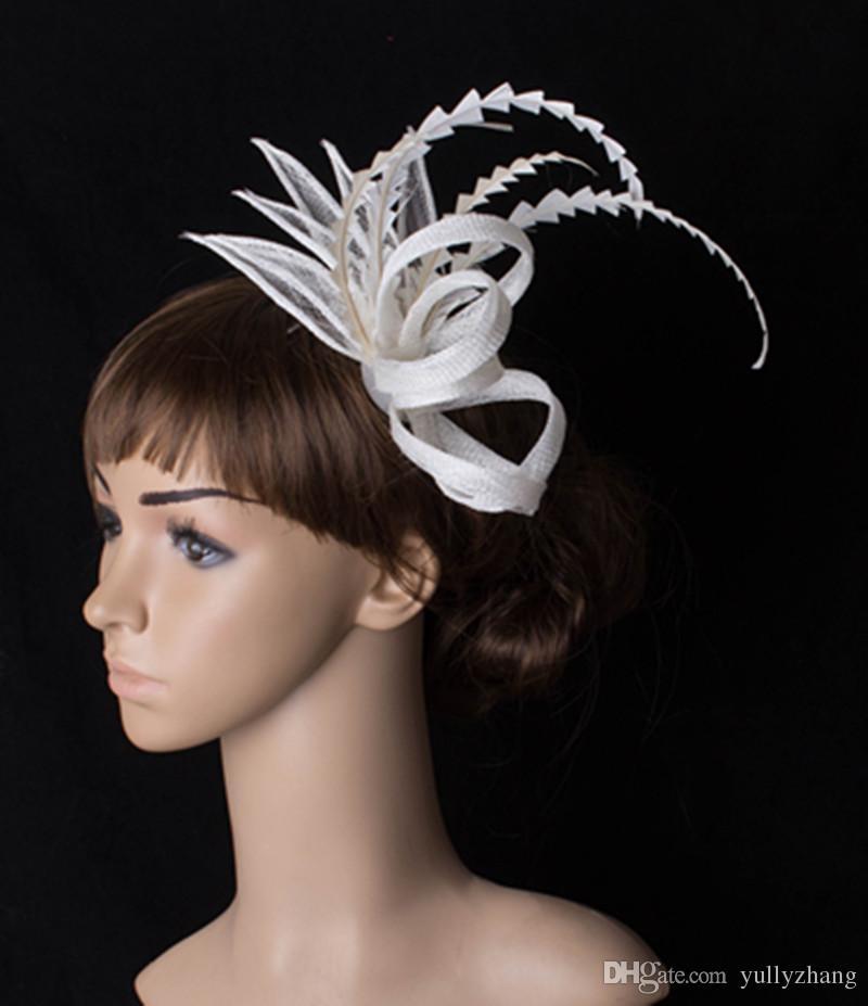 17 couleurs attrayantes accessoires cheveux Sinamay fascinateur église headpiece matériel costume chapeau de mariée pour tous MYQ011 saison