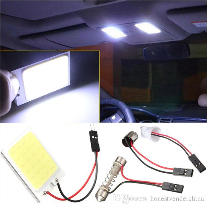 20X T10 24 SMD COB LED Panel Super White Car Auto Interior Reading Map Lamp Bulb Light Dome Festoon BA9S 3 Adapters DC12V