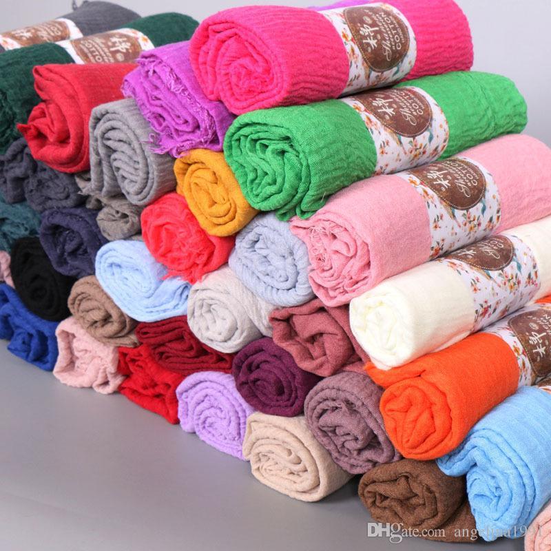 Bubble cotton plain wrinkle scarf shawl wrap muslim hijab headband drape popular scarves 46 color