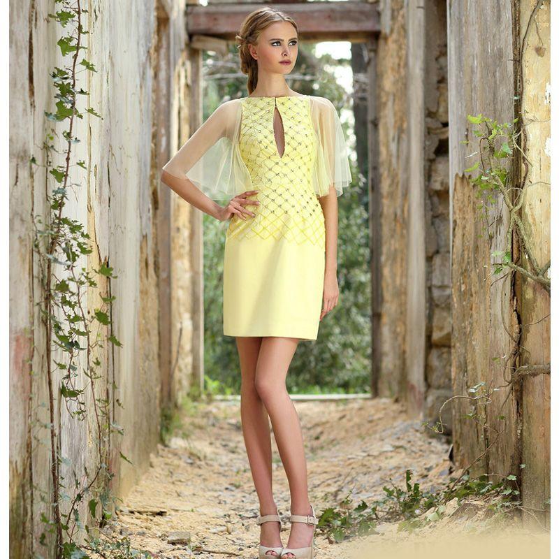 2020 الموضة الجديدة الأصفر فستان قصير حفلة موسيقية جميلة مساء اللباس العودة للوطن لباس التخرج بالنسبة للمراهقين