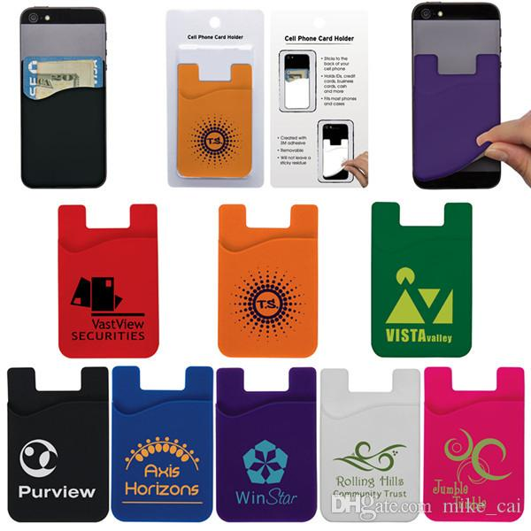 Cell Phone Card Holder >> 2019 Cheap And High Quality Customized Logo Cell Phone Smart Phone Wallet Pouch Silicone 3m Adhesive Pouch Credit Card Holder For Iphone 7 From