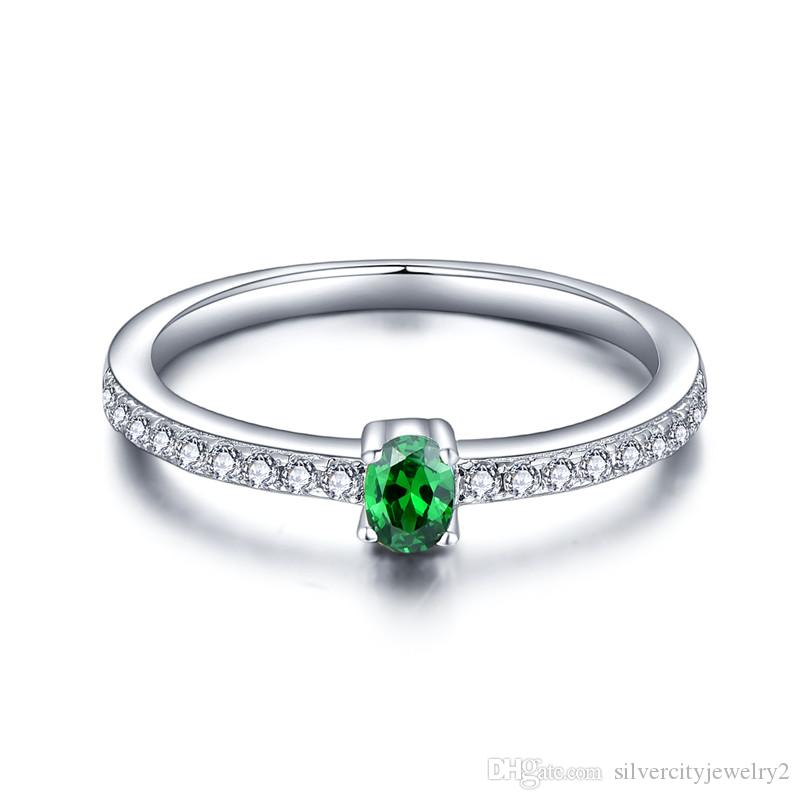 woman with green rings colifejewelry engagement natural simple diopside fashion silver stone for from real sterling ring product