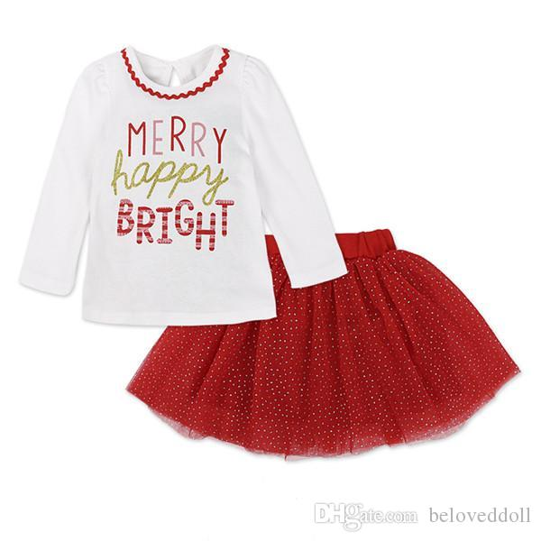 Girls Christmas Tutu Suit Long Sleeve Cotton Coat Gauze Skirt 2pcs White O-Neck Letter Print Tops and Red Girls Skirts 009#