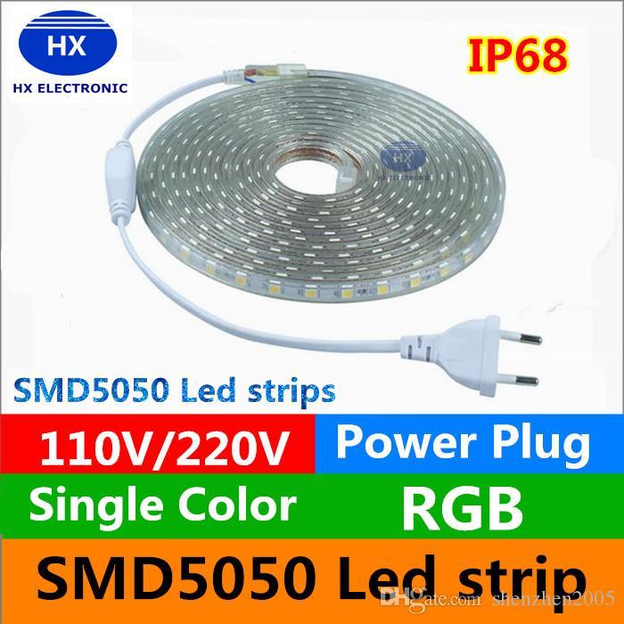 110V / 220-240V alta tensão 100m LED tiras 5050 impermeável 10m 15m 20m 25m 30m 35m 40m 50m 50m LED tiras de luz + poder suply