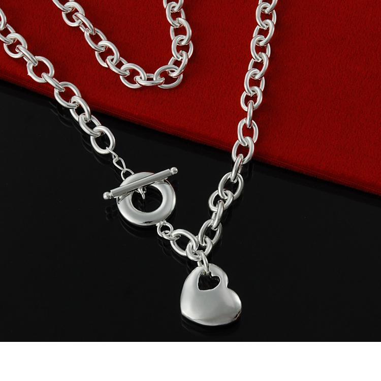 Directo de fábrica al por mayor de plata de ley 925 burbuja sin centro de corazón collar collar de plata de moda