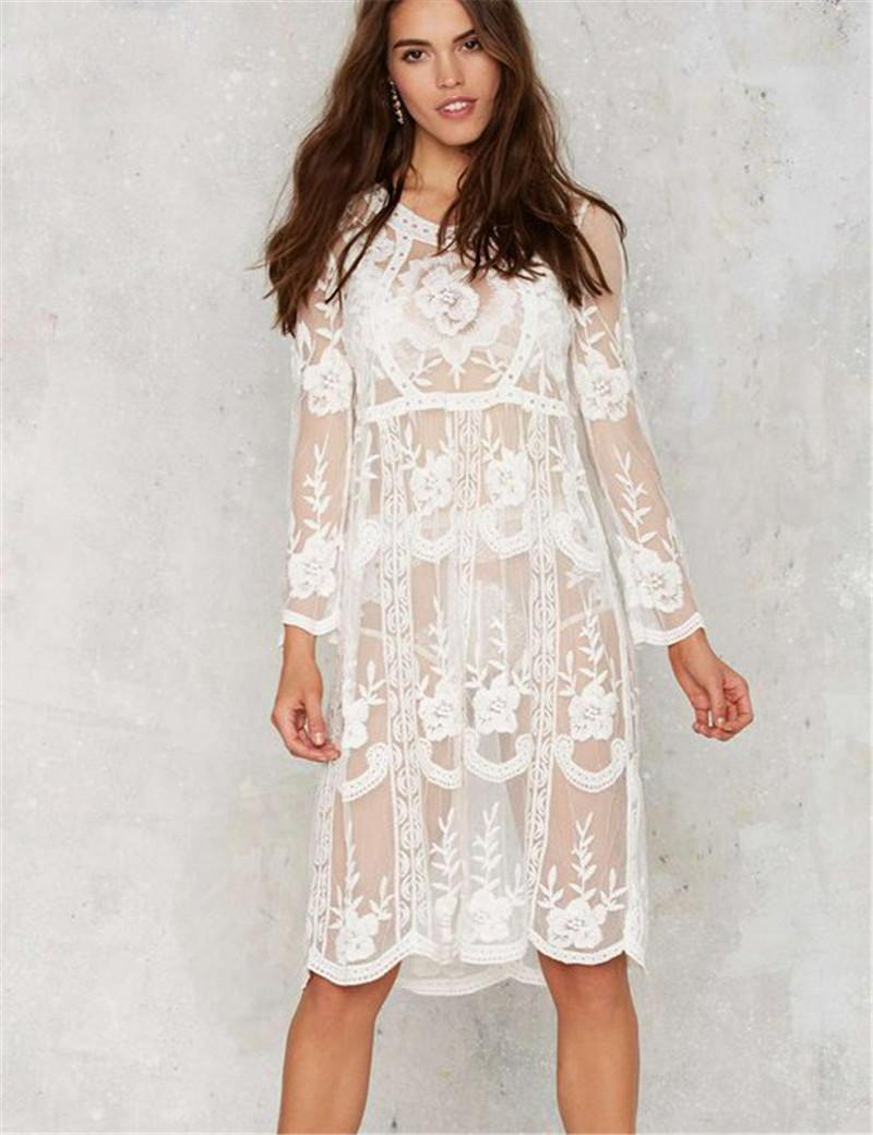 Unique Design Loose Beach Dress Summer Style Brand New White Lace Dress Long Sleeve Knee Length Swimsuit Cover Up Summer White Maxi Dress Dresses For
