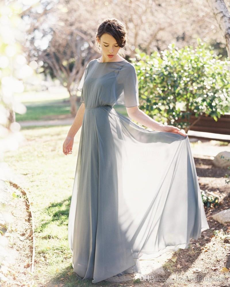 Elegant Chiffon A Line Cocktailkleider nach Maß 2017 Verpackungs-reizvolle Backless formale Partei tragen lange Mädchen der Ehre Kleider