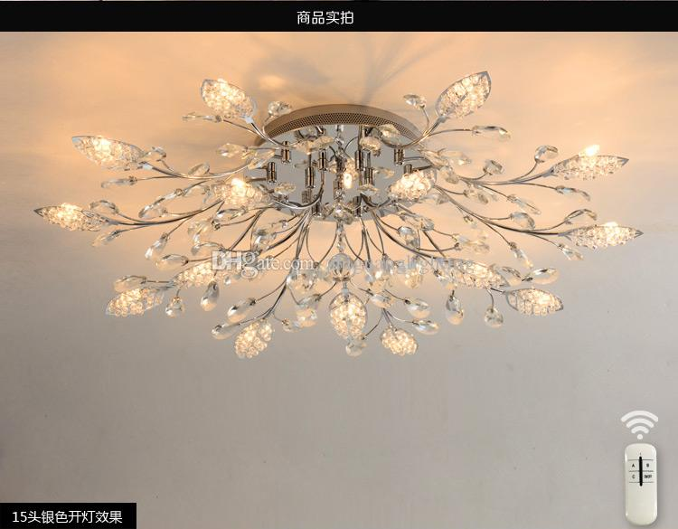 European crystal lamp restaurant light simple creative personality led living room ceiling light round romantic bedroom light