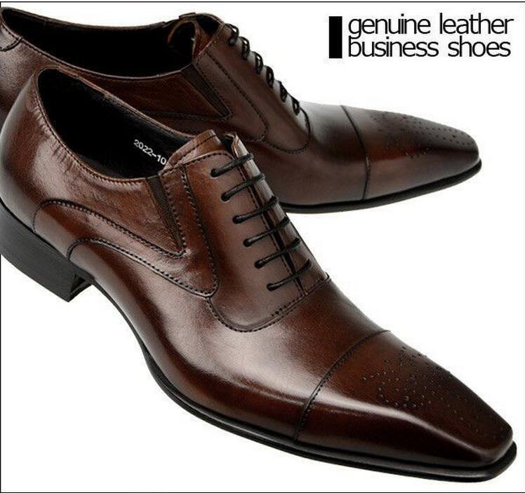 Black Business Shoes High Quality Men Dress Shoes Mens Oxfords Shoes Genuine Leather Italian Designer Wedding Dress For Men