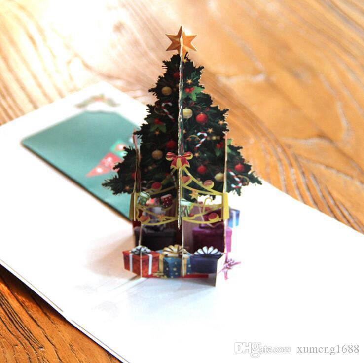 3D pop up cartões de natal de natal origami papel cartões de corte a laser cartões postais presente artesanal em branco colorido árvore de natal