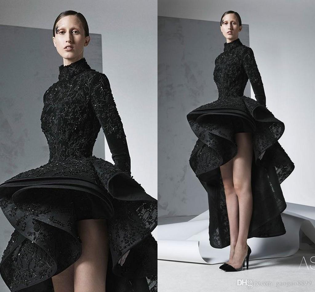 Ashi Studio Georges Amazing Detail Black High Low Long Sleeve Prom Formal Dresses Middle East Dubai Arabic Occasion Dress Evening Wear