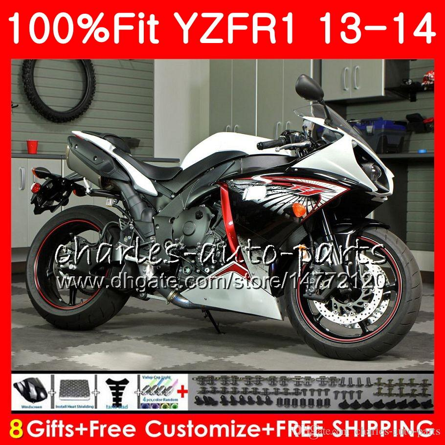 Corpo de injeção para YAMAHA preto branco YZF 1000 YZF R 1 YZF-1000 YZF-R1 13 14 86NO14 YZF1000 YZFR1 13 14 YZF R1 2013 2014 Kit de carenagem 100% Fit