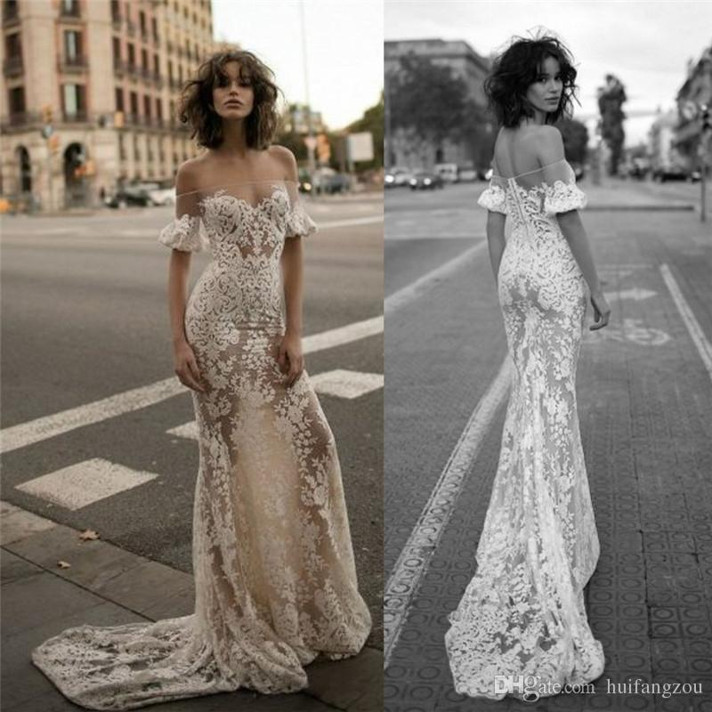 Champagne Off Shoulder Wedding Dresses Delicate Lace Sheath Bridal Gowns Floor Length Custom Made Gown