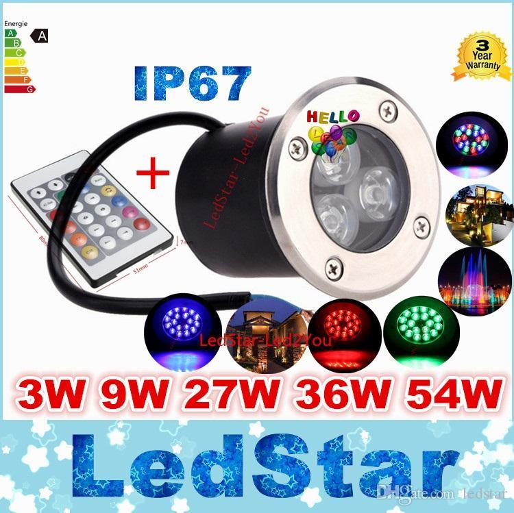 12 V 9 W Conduziu a Lâmpada de Luz Subterrânea RGB Ao Ar Livre IP67 Enterrado Recesso Luzes de Assoalho Quente / Frio Branco Vermelho Azul Verde Com Controle Remoto