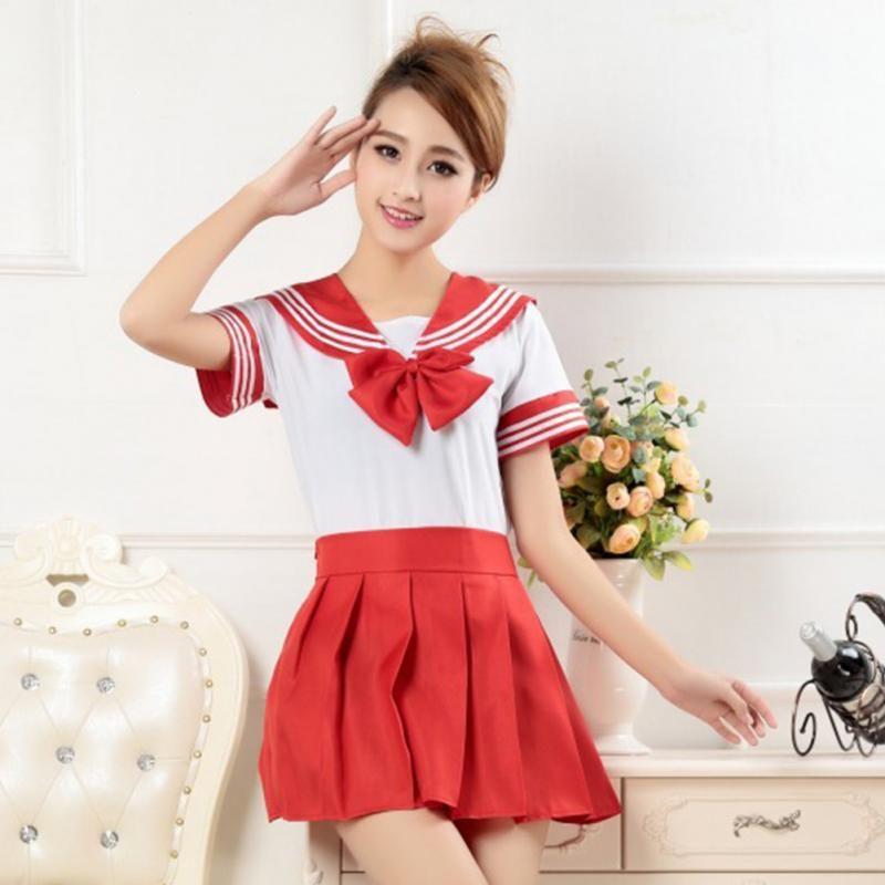 도매 - 일본 학교 소녀 유니폼 드레스 티셔츠 + 미니 스커트 복장 선원 선원 코스프레 휴일 의상 멋진 애니메이션