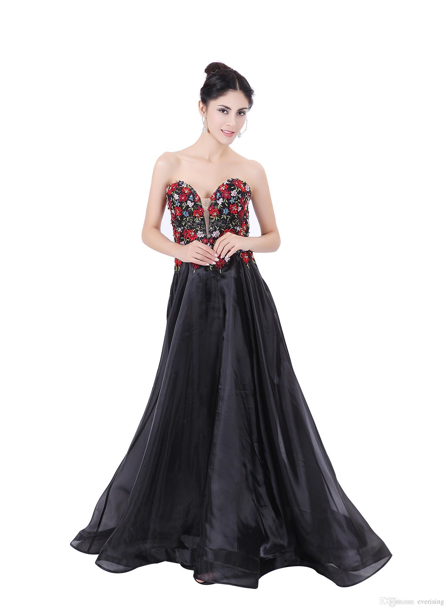 Modabelle Damska Organza Suknie Wieczorowe Zaawansowane Dostosowywanie Formalna Kochanie Linia 3d Kwiaty 2017 Prom Dresses
