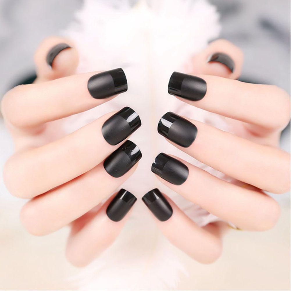 24pcs / set élégant français faux ongles faux design court couverture complète art faux ongles pour femme fille dame noir