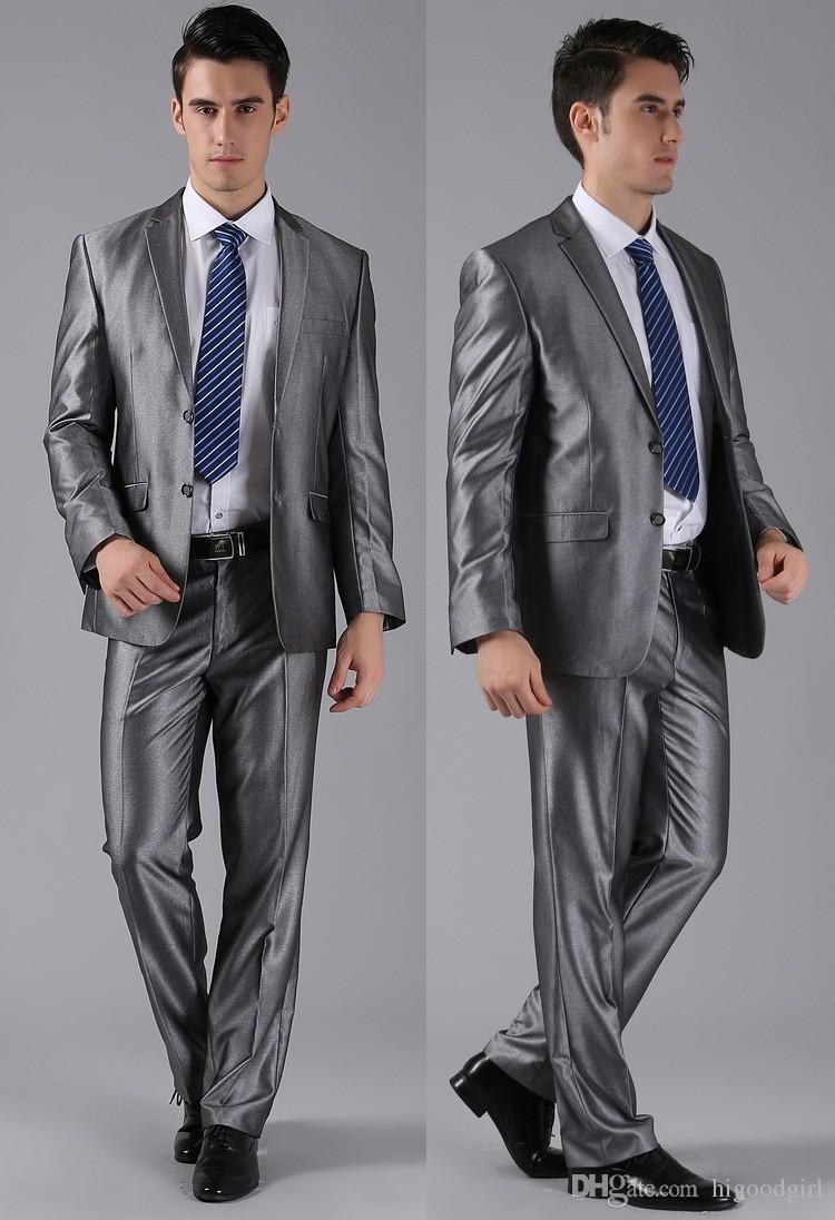 Grau Schal Revers Bräutigam Smoking Männer Anzüge mit Hosen Hochzeit Best Man Blazer (Jacke + Pants + Fliege + Weste)