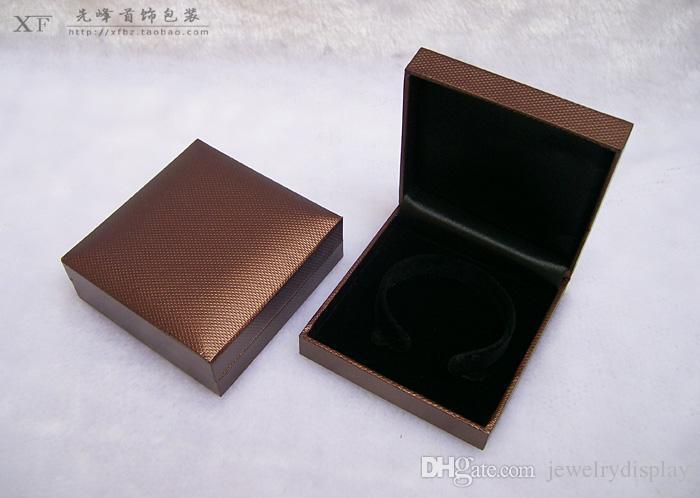 Envío libre al por mayor 12 unids marrón joyería brazalete pulsera cajas de plástico de calidad caja de regalo Pachage caja de regalo