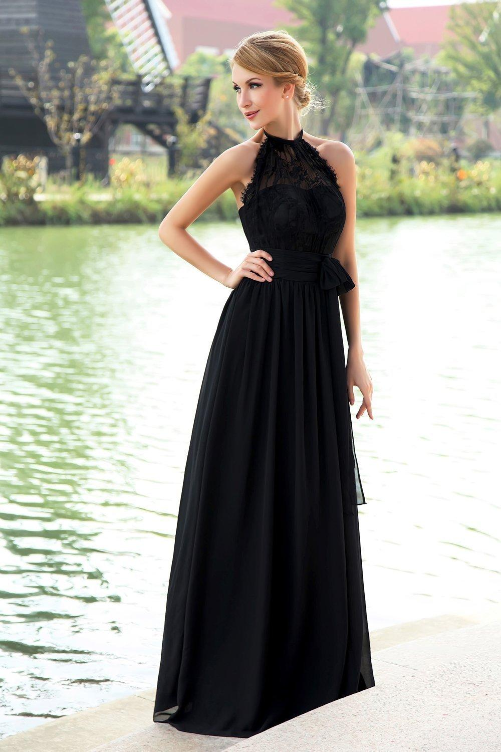 Simple Black Formal Dresses Evening Wear Halter Neck Lace Top Draped Chiffon Long Low Back Cheap Women Prom Dress Party Gowns 2015 Prom Dresses With