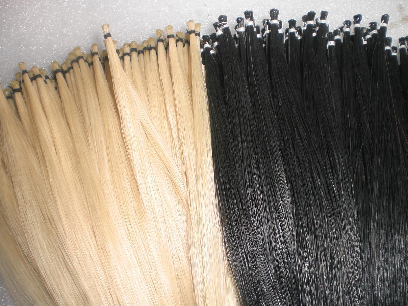 15 هانكس الأسود القوس الشعر و 15 هانكس الأبيض القوس الشعر كل 32 بوصة 6 غرام منغوليا شعر الخيل الشحن المجاني