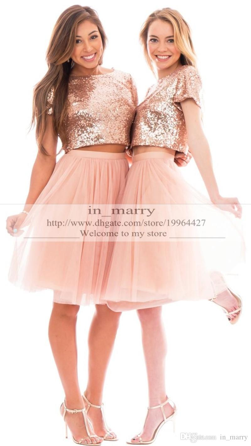 Rose Gold Sequined Plus Size Short Bridesmaid Dresses 2016 Two ...