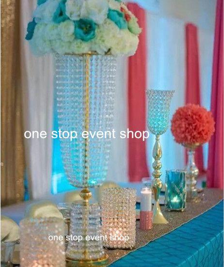 высокая и Большая свадьба декоративные золотые хрустальные вазы центральные трубы цветок ваза с большой чашей