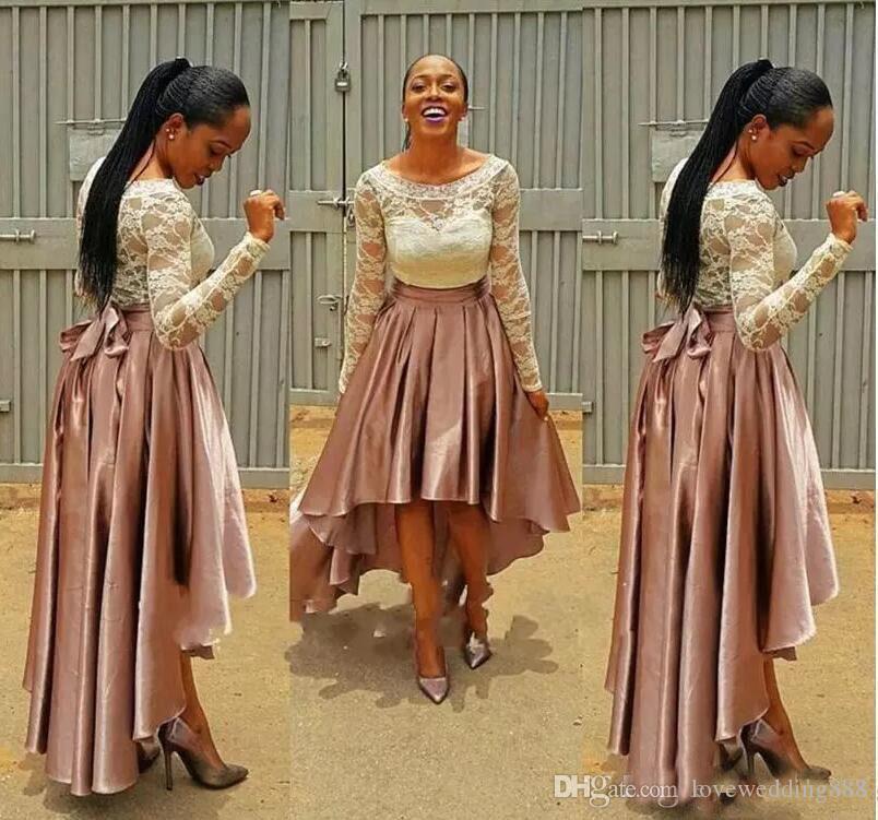 2017 South African High Low Prom Kleider Applique Spitze Satin Scoop Neck Sheer Lange Ärmel Fashion Formal Party Kleid