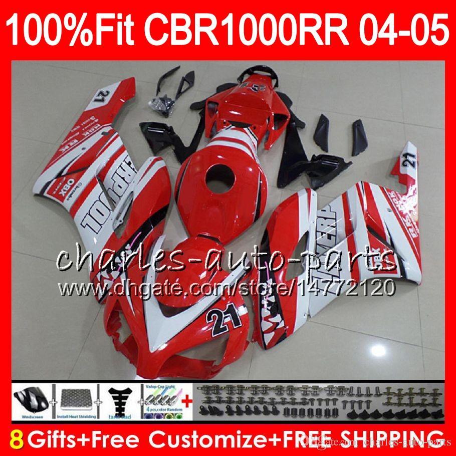 Einspritzkörper für HONDA CBR 1000RR 04 05 Karosserie CBR 1000 RR 79HM3 TOP Rot weiß CBR1000RR 04 05 CBR1000 RR 2004 2005 Verkleidungssatz 100% Fit
