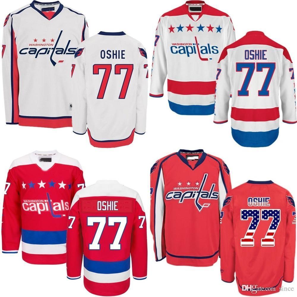 2016 Nieuwste 2015 VS Washington Capitals 77 TJ Oshie White Red Jerseys Ice Hockey Jersey Mens Mode All Gestikt 100% Polyester