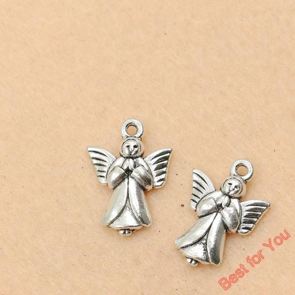 100pcs Vintage Antique Silver Plated Angel Fairy Charms Beads Pendants For Jewelry Making Diy Handmade 20x14mm jewelry making