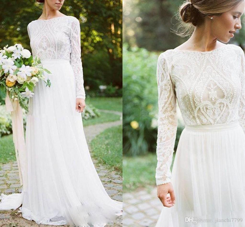 Discount Bohemian Wedding Dress With Long Sleeves Elegant Long Chiffon Bridal Gown Lace Top Jewel Neck Cheap A Line Wedding Bridal Dress 2018 Brides ...