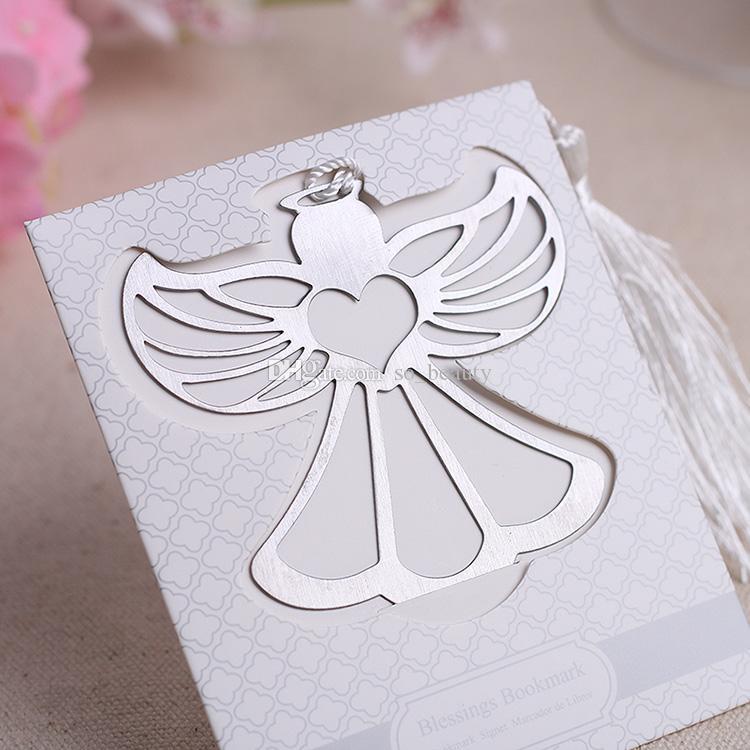 10 pcs Anjo Blessings Bookmarker com borlas brancas Bookmark Presente Do Casamento Favores Do Casamento Bookmarks Party Natal Novo
