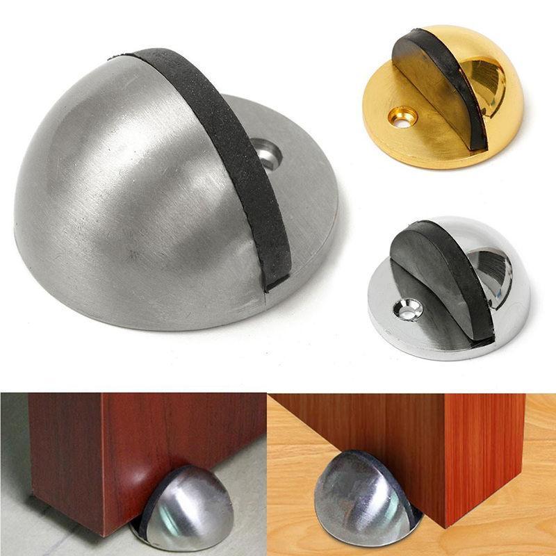 Wholesale- Rubber Door Holder Stop Wall Floor Mount Stopper Wedge Nickel/Chrome Screws New Furniture Accessories