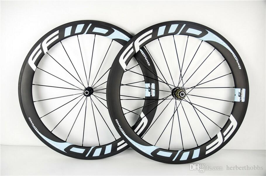 Custom Paint Ffwd 60mm 700c Light Blue Full Carbon Road Bicycle Wheels Clincher Tubular Full Carbon Bike Wheelset