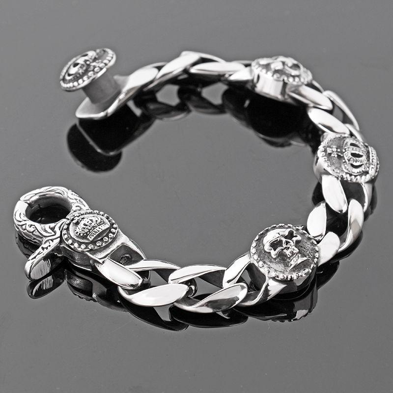 Mode Hot vente Lien Chaîne Squelette En Acier Inoxydable Bracelet Hommes Bracelets Bicycle Crown bracelet 17 MM Large