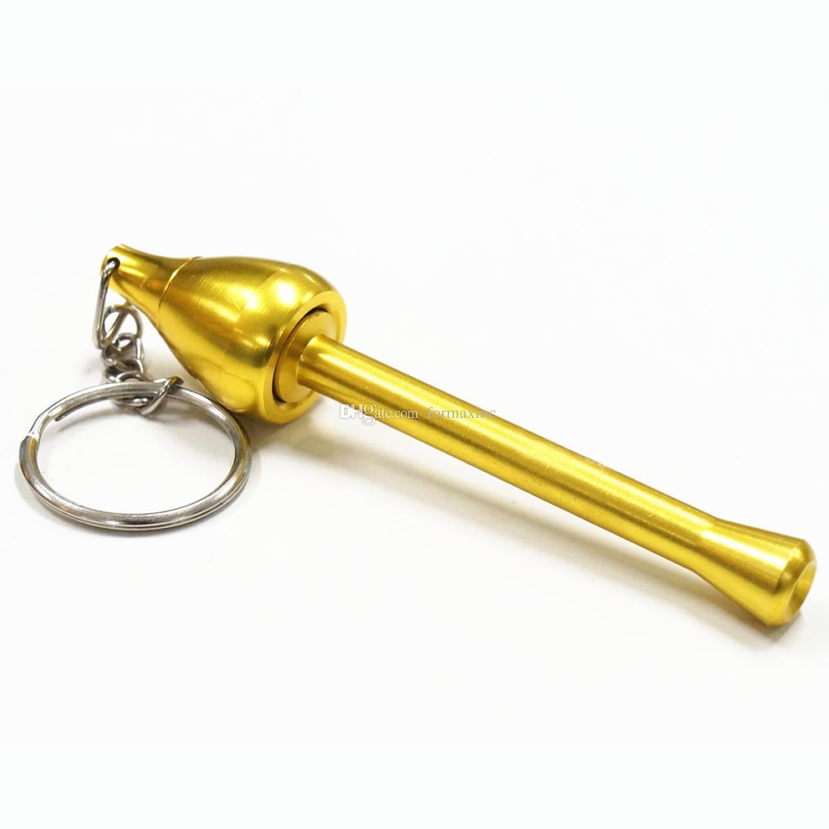 Key Chian Hand Pipe Spezialität Kraut Pocket Portable Pfeife Pilz Handpfeife Rauchen Zubehör Farbe Gold Kostenloser Versand