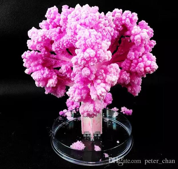 iWish Visual 2017 14x11cm Pink Big Grow Magic Paper Sakura Tree Magically Growing Trees Kit Japanese Desktop Cherry Blossom Kids Toys 100PCS