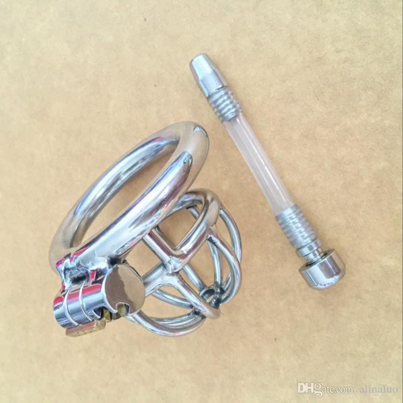 целомудрие устройства мужской петух клетки целомудрие устройство пенис вилка новый небольшой мужской целомудрие устройство с уретры катетер БДСМ из нержавеющей стали