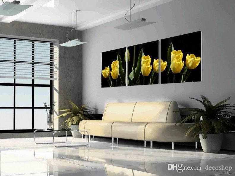 Modern Tulipa Gesneriana Flower Painting Giclee Print On Canvas Wall Art Home Decoration Set30384