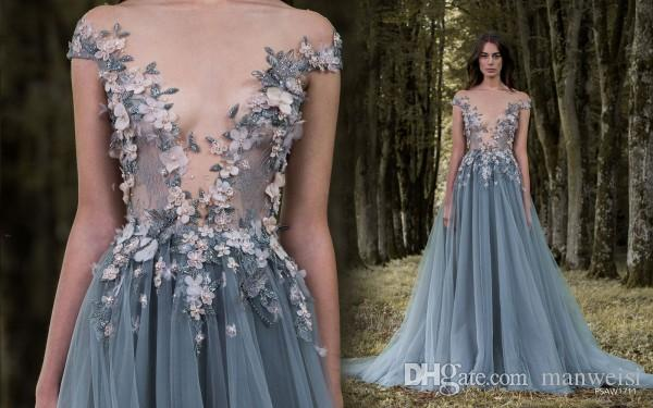 Paolo Sebastian 2017 Prom Dresses 3D-Floral Appliques Short Sleeve Lace Dress Evening Wear Sheer Neck Flower Vintage Long Formal Party Gowns