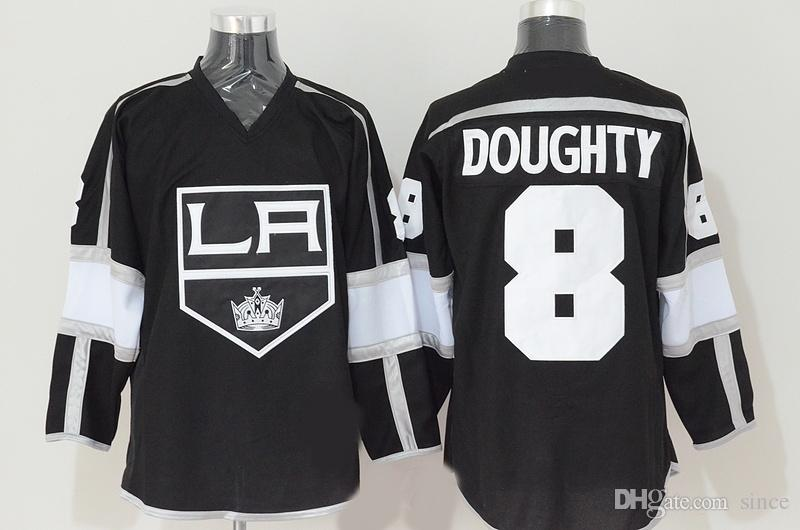 Factory Outlet Mens New 100% Polyester Los Angeles Kings 8 Drew Doughty Team Color Black Men's Fashion Best Quality Ice Hockey Jerseys