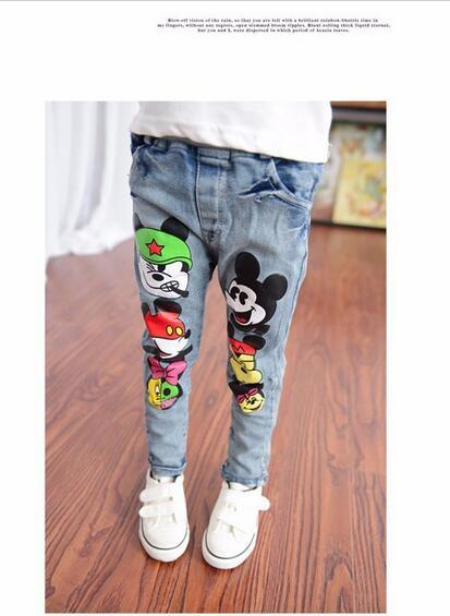 marca nios chicos chicas pantalones vaqueros pantalones primavera otoo suave nios nia beb elstico cintura dibujos
