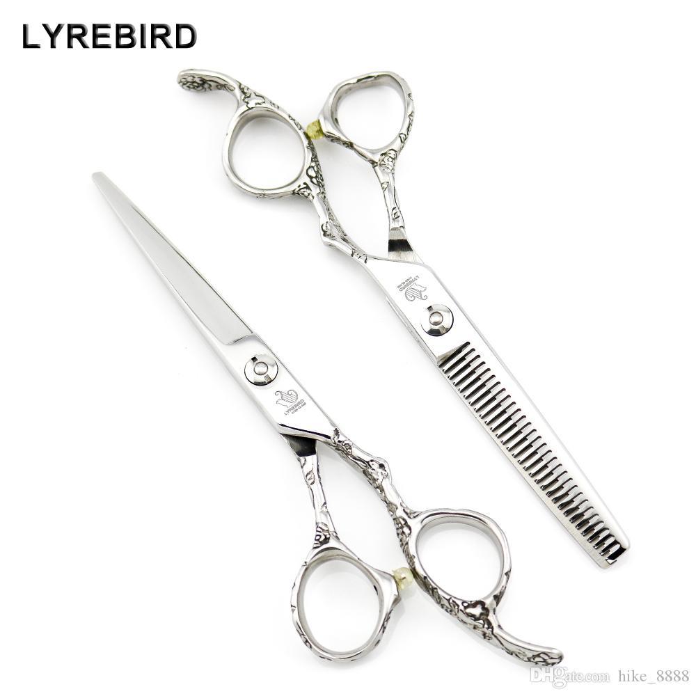 Ciseaux à cheveux Lyrebird Ciseaux à cheveux de coiffeur de 6 pouces Ciseaux de coiffure au Japon Ciseaux de coiffure argentés