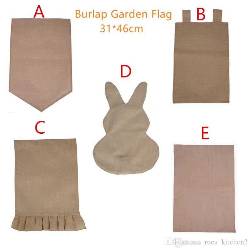 Burlap Garden Flag 31 * 46cm Halloween Juta Ruffles fai da te Lino Yard Hanging bandiera decorazione della casa portatile Banner 5 stili
