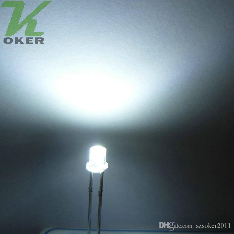 1000 stücke 3mm Weiß Flache top LED Licht Lampe led Dioden 3mm Flat Top Ultra Helle Weitwinkel LEDs Kostenloser Versand