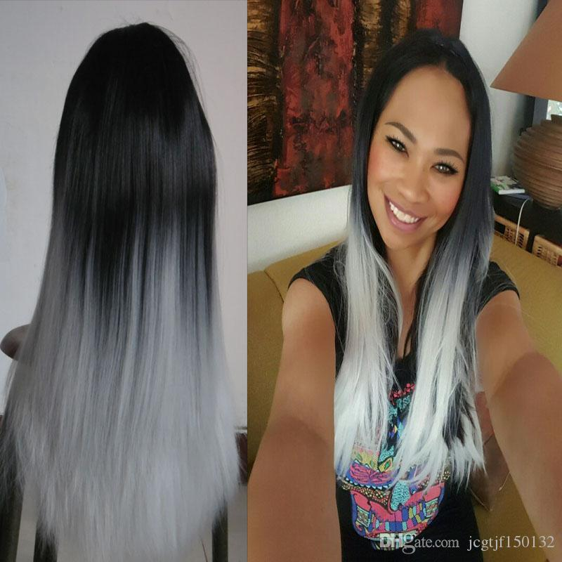 """26 """"серебристый серый синтетический ни один кружевной фронт фронт парик безгреблений Оммре синтетическое кружево передние парики термостойкие парики волос прямые интокс 300G"""