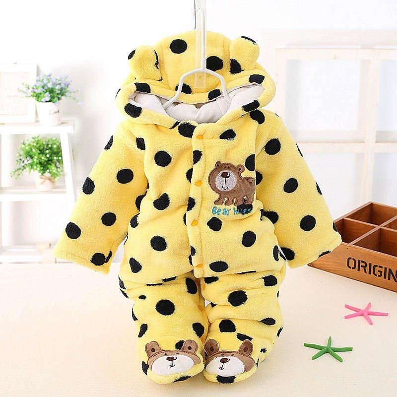 Bebé de invierno mameluco de algodón acolchado gruesa bebé recién nacido cálida mono otoño moda de bebé desgaste Kid subir ropa